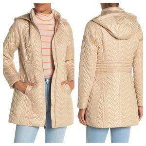 NWT Via Spiga XL Zig-Zag Quilted Jacket Coat Hood